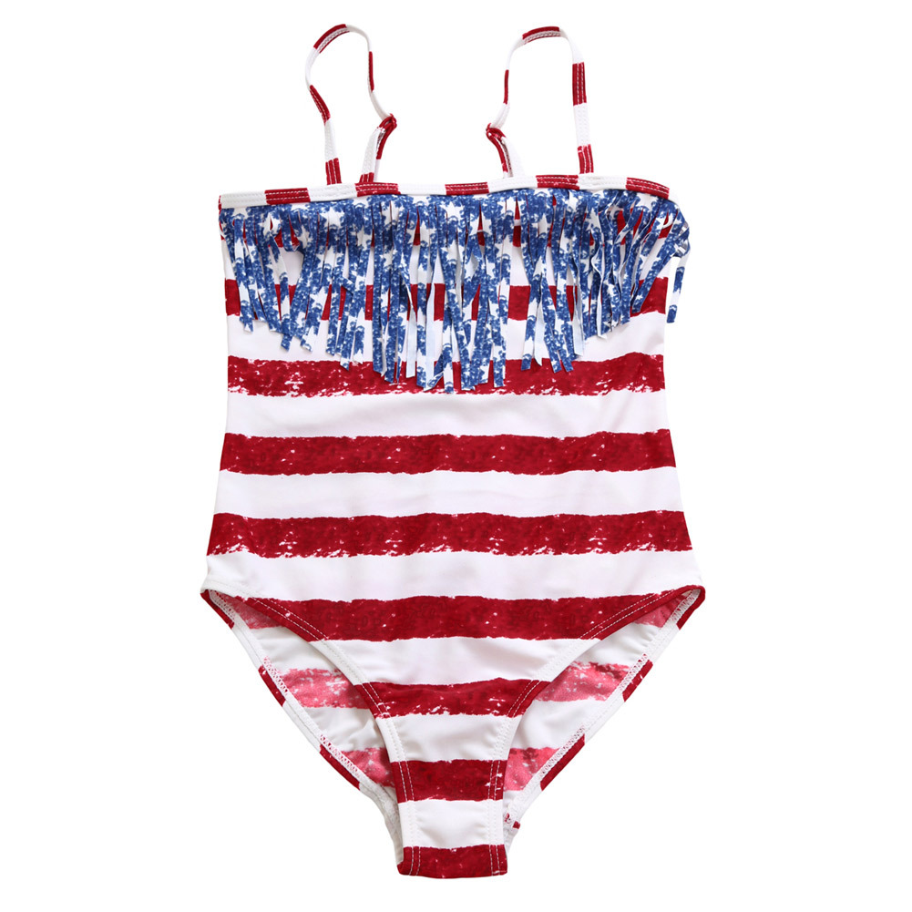 Pa Meng Europe And America National Flag-Camisole Chest Stripes Tassels Childrenswear One-piece Swimwear TZ410001