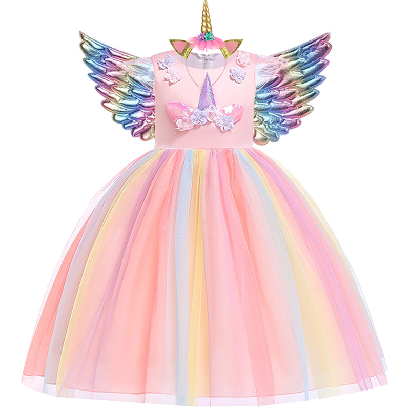 Vestido tutú de unicornio para niñas, vestido de princesa arcoíris para fiestas infantiles, disfraz Cosplay de Navidad y Halloween con alas de diadema