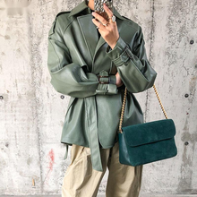 New Spring Autumn Women Faux PU Leather Casual Streetwear Outwear Motorcycle Leather Jacket with Belt Green Biker Coat