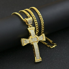 Rhinestone Cross Pendant Necklace Gold Silver Alloy Crystal Crucifix Necklace Men Women Hip Hop Jewelry цена в Москве и Питере