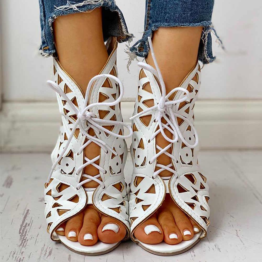 Karinluna 2020 dropship büyük boy 43 ayakkabı bağı hollow gladyatör yaz çizme sandalet eğlence takozlar topuklu rahat kadın ayakkabı