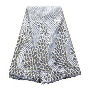 Image 3 - Latest emerald green african lace fabrics high quality sequence lace fabric 5 yards french net lace tulle fabric for women dress