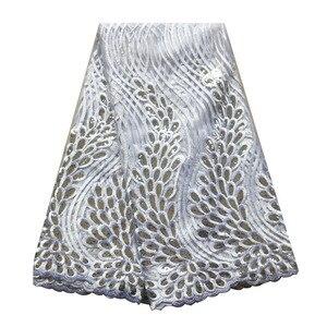Image 3 - Tissus en dentelle africaine vert émeraude, tissus de haute qualité en dentelle à séquence, 5 yards, tulle français en dentelle pour robe pour femmes