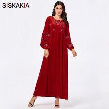 Siskakia Winter Dresses Muslim Women Fashion Casual Warm Max