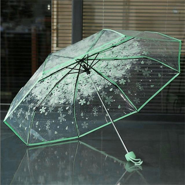 Transparent Umbrellas For Protect Against Wind And Rain Clear Sakura 3 Fold Umbrella Clear Field Of Vision Household Rain Gear 6