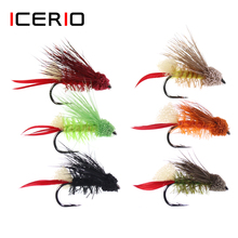 ICERIO 4PCS Fly Tying Hook Grass Hoppers Dry Flies Terrestrial Fly Trout Fishing Fly Lure Baits туника fly fly mp002xw13q9g