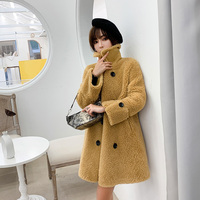 BARESKIY new thick camel knit coat female long sleeve high collar coat button casual autumn and winter elegant cashmere coat
