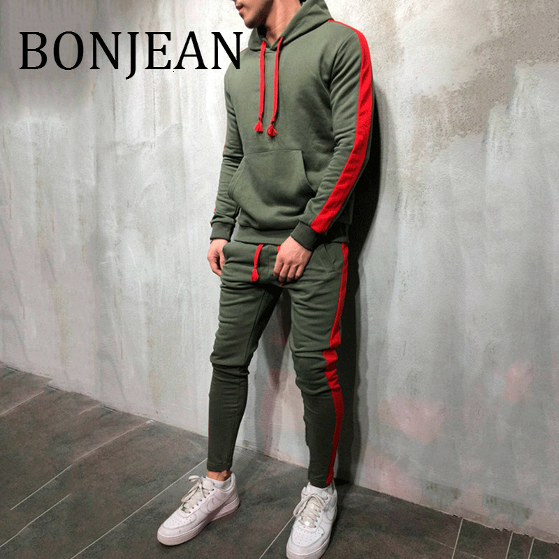 BONJEAN 2 Pieces Sets Tracksuit 2018 Autumn Winter Hooded Sweatshirt +Drawstring Pants Male Stripe Patchwork Streetwear BJ1917