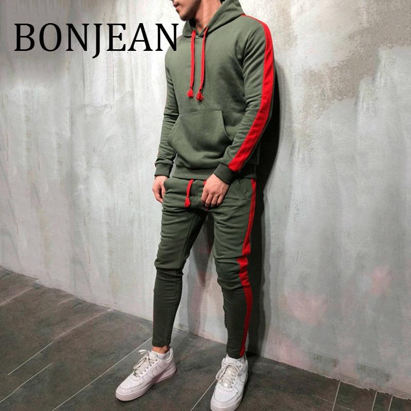 BONJEAN 2 Pieces Sets Tracksuit 2018 Autumn Winter Hooded Sweatshirt +Drawstring Pants Male Stripe Patchwork Streetwear BJ1917