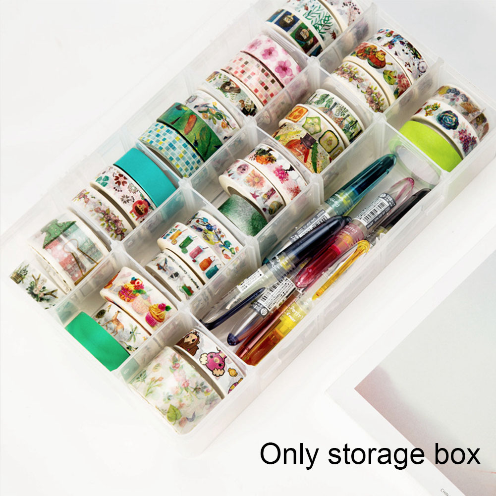 15 Grids Plastic Scrapbook Detachable Art Supplies Office Stationery Storage Box DIY Gift Learning Multifunction Washi Tape