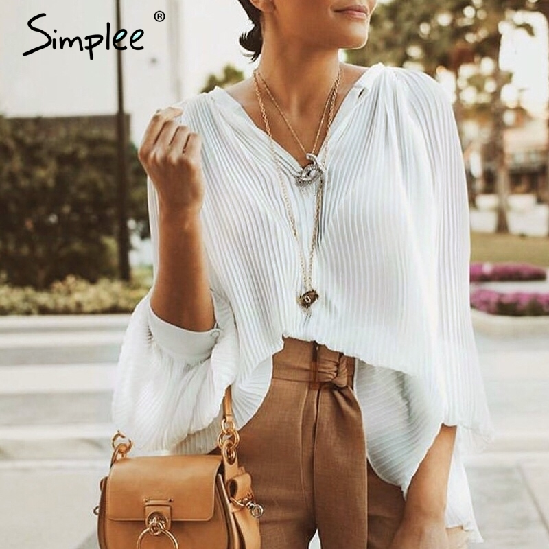 Simplee Elegant pleated women   blouse     shirt   Long sleeve lace up female   blouse   tops Autumn winter plus size office ladies   blouses