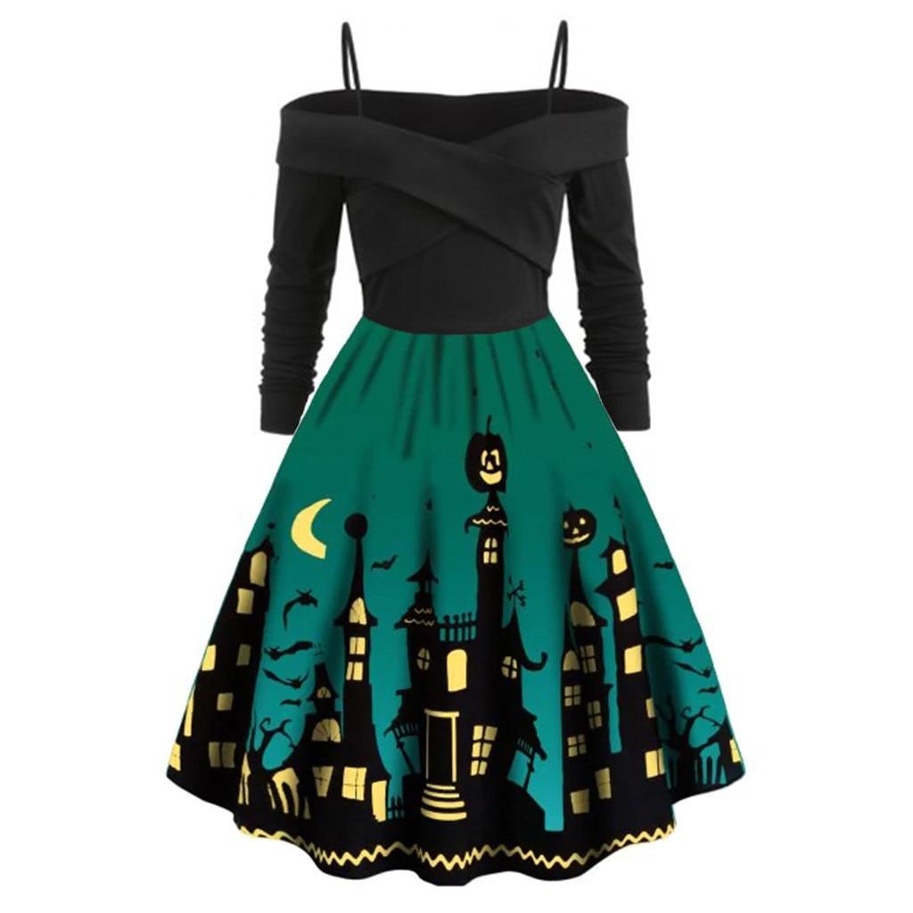 Women Pumpkin Party Print Dress Halloween Long Sleeve V 6
