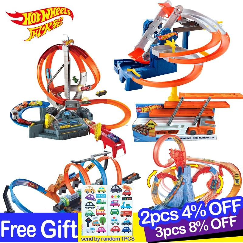 Hot Wheels Diecast Roundabout Track Toy Square City Cars Model Toys For Children   For Kids Carros Brinquedos Educativo