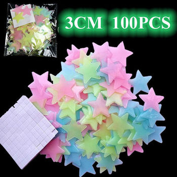 100pcs 3D Effect Star Energy Storage Fluorescent Glow In the Dark Luminous on Wall Stickers for Kids Room Living Room Decal image