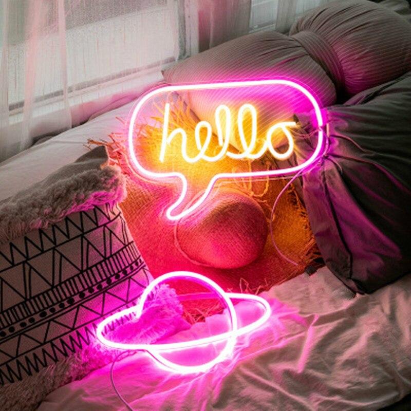 LED خرطوم أضواء النيون النيون تسجيل لوحة أضواء عيد الميلاد حفلة متجر لوحة على الحائط لتزيين المنزل 10 نوع مصباح النيون الملونة الحب مرحبا