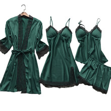 Lady Casual Satin Pajamas Suit With Lace Women 4PCS Sleepwear Summer New Sleep Set Lounge Female Kimono Bath Gown Home Clothing(China)
