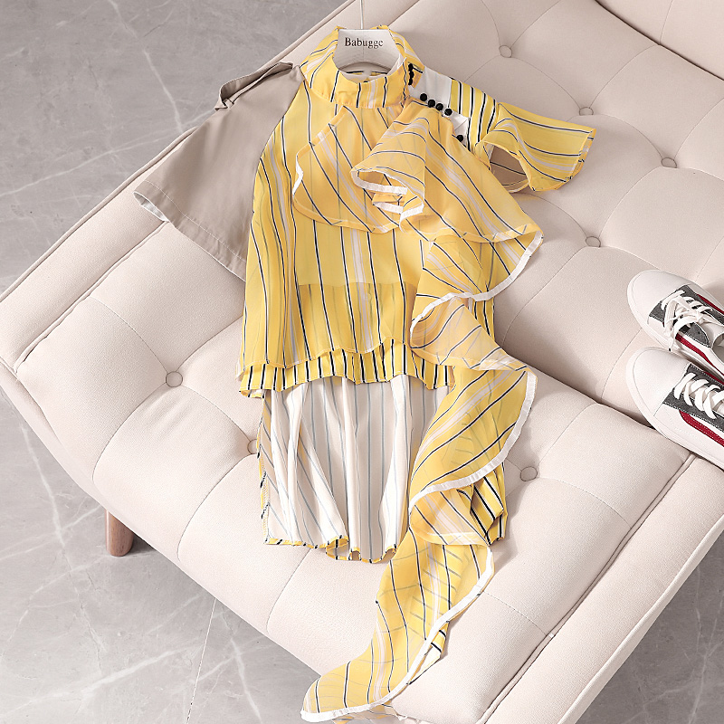 Women Autumn Summer Irregular Short Sleeve Chiffon Shirt New Loose Ruffled Striped Shirt Blouse Ladies Blusas Tops