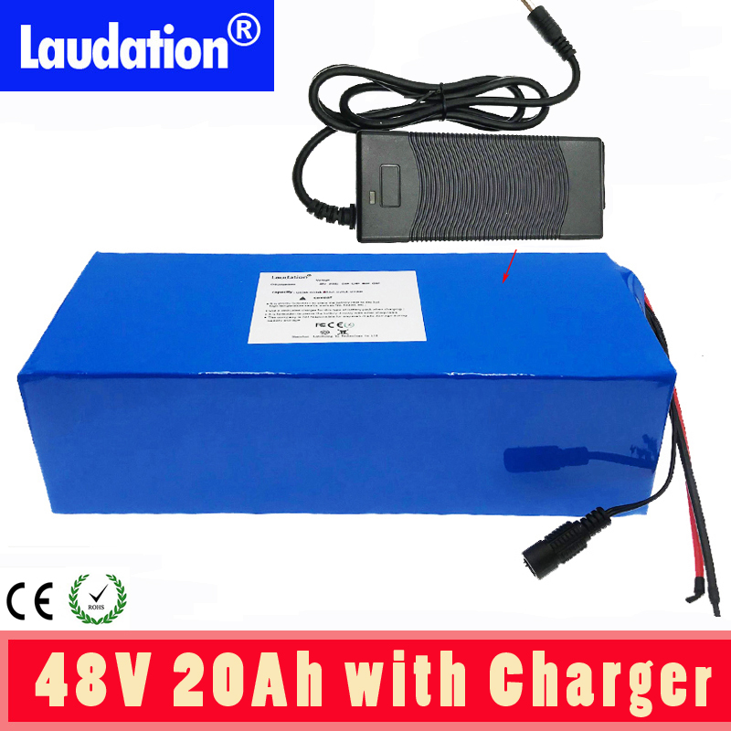<font><b>48V</b></font> 20Ah <font><b>batery</b></font> pack Electric car battery 18650 rechargeable battery pack With 2A charger built-in 30A BMS For electric bicycles image