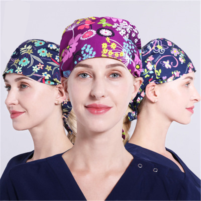Nurse Surgical Cap Woman Doctor Printed Hat Fume-proof Chef Hat Food Hygiene Work Hat