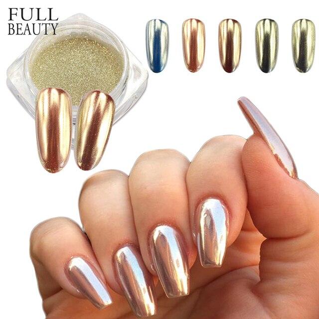 0.5g Champagne Zilveren Spiegel Metallic Kleur Nail Glitter Poeder Dazzling Silver Holografische Pigment Nail Art Decoratie CH820/C