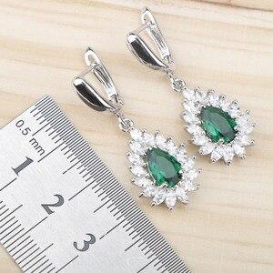 Image 5 - Green Zircon Costume Silver 925 Jewelry Sets Women Stones Earrings Pendant&Necklace Rings Wedding Set of Jewelery Gift Box