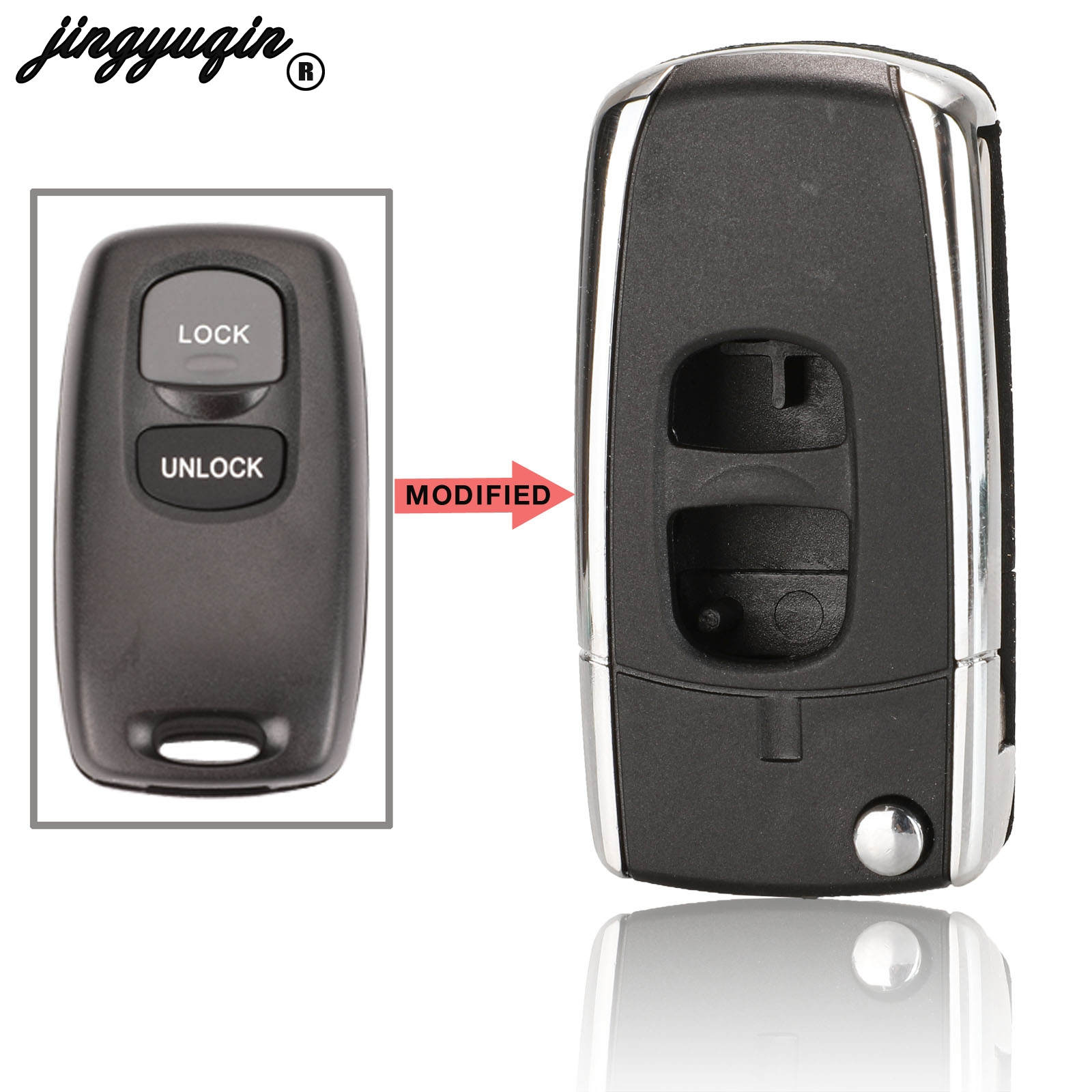 Jingyuqin Car-Key-Shell-Cover Modified Mazda Key-Case 2-Buttons for 2/3/6-323/.. title=