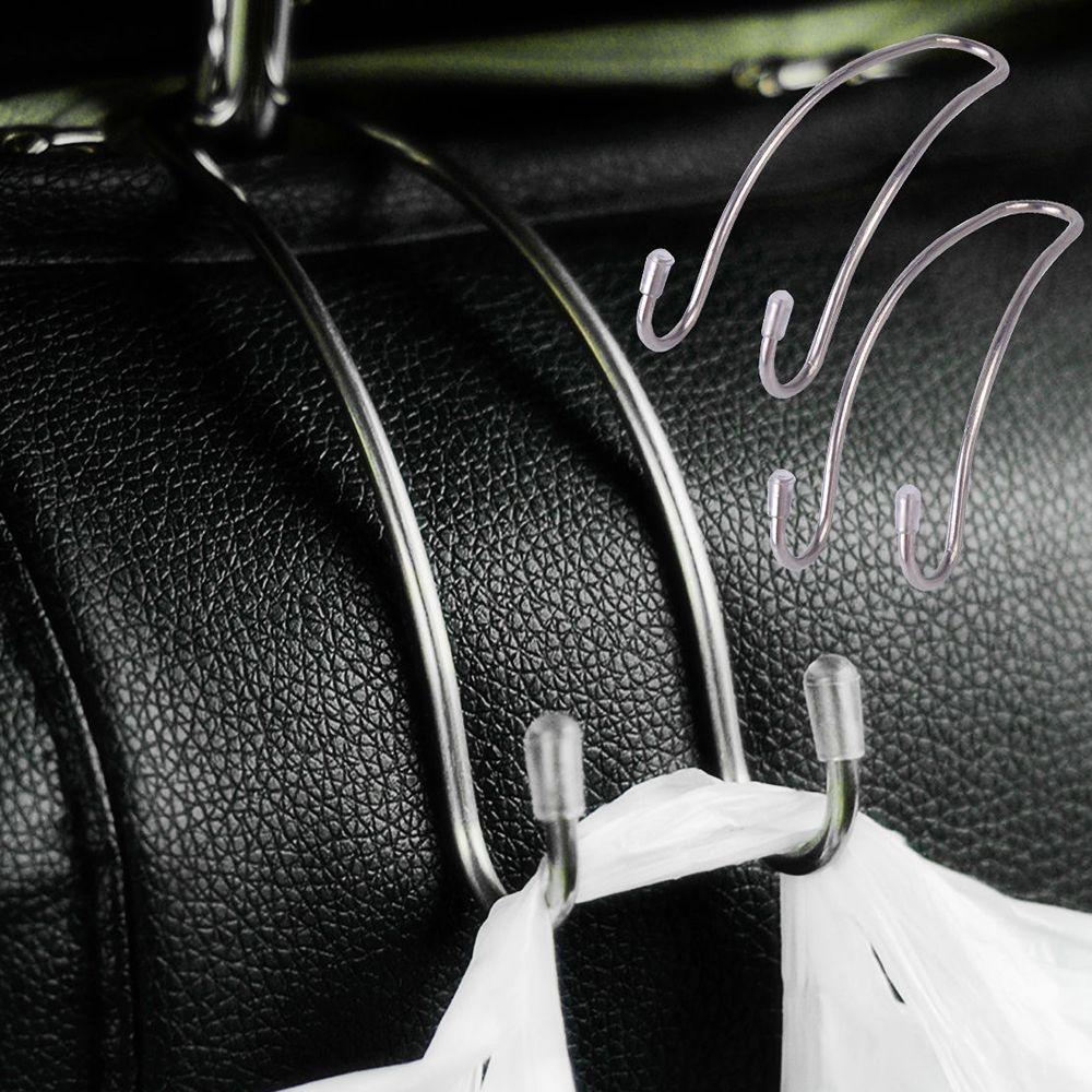 2 pièces acier inoxydable Auto siège de voiture arrière crochets cintres organisateur universel multifonction rangement crochets maison rangement crochet