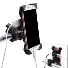 Universial Motorcycle Bike GPS Handlebar Mount Holder USB Charger For Cell Phone iPhone GPS Motocycle Accessary Holder(China)