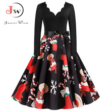 Black Big Swing Print Vintage Christmas Dress Women Winter Casual Long Sleeve V