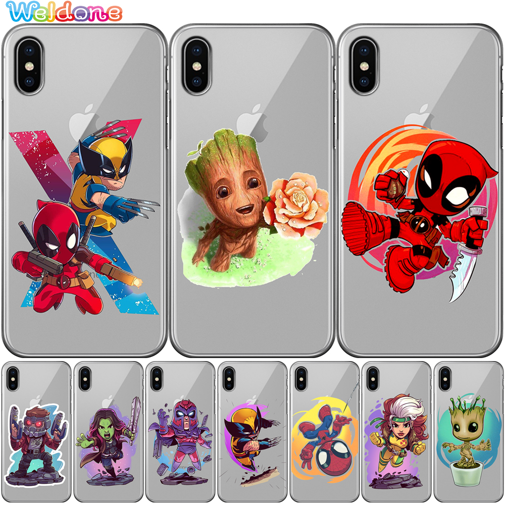 X Men Groot Deadpool Wolverine Star Lord Phone Cover Case For iPhone XS Max XR X 7 6s 8 Plus 5S case cover etui in Fitted Cases from Cellphones Telecommunications