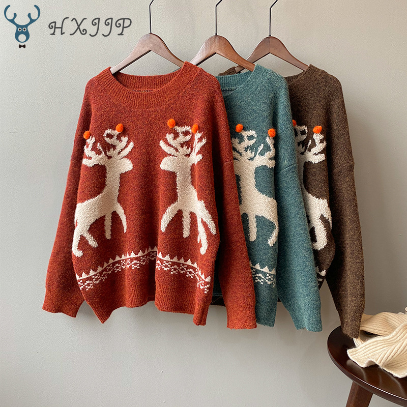 HXJJP 2019 Winter New Elk Christmas Red Women Sweater Female O-Neck Long Sleeve Loose Retro Knitted Pullover