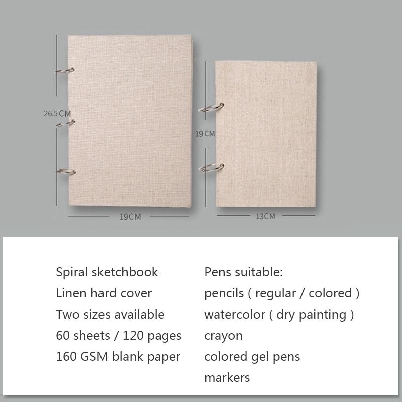 Skrin buku sketsa retro linen hardcover 120 halaman 160 gram per - Pad nota dan buku nota - Foto 3