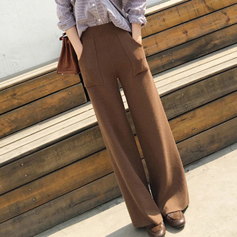 YAMDI Vintage Chic Spring Autumn Winter Thick Knitted High Waist Korean Pocket Wide-leg Trouser Femme Solid 2020 Pantalones Muje