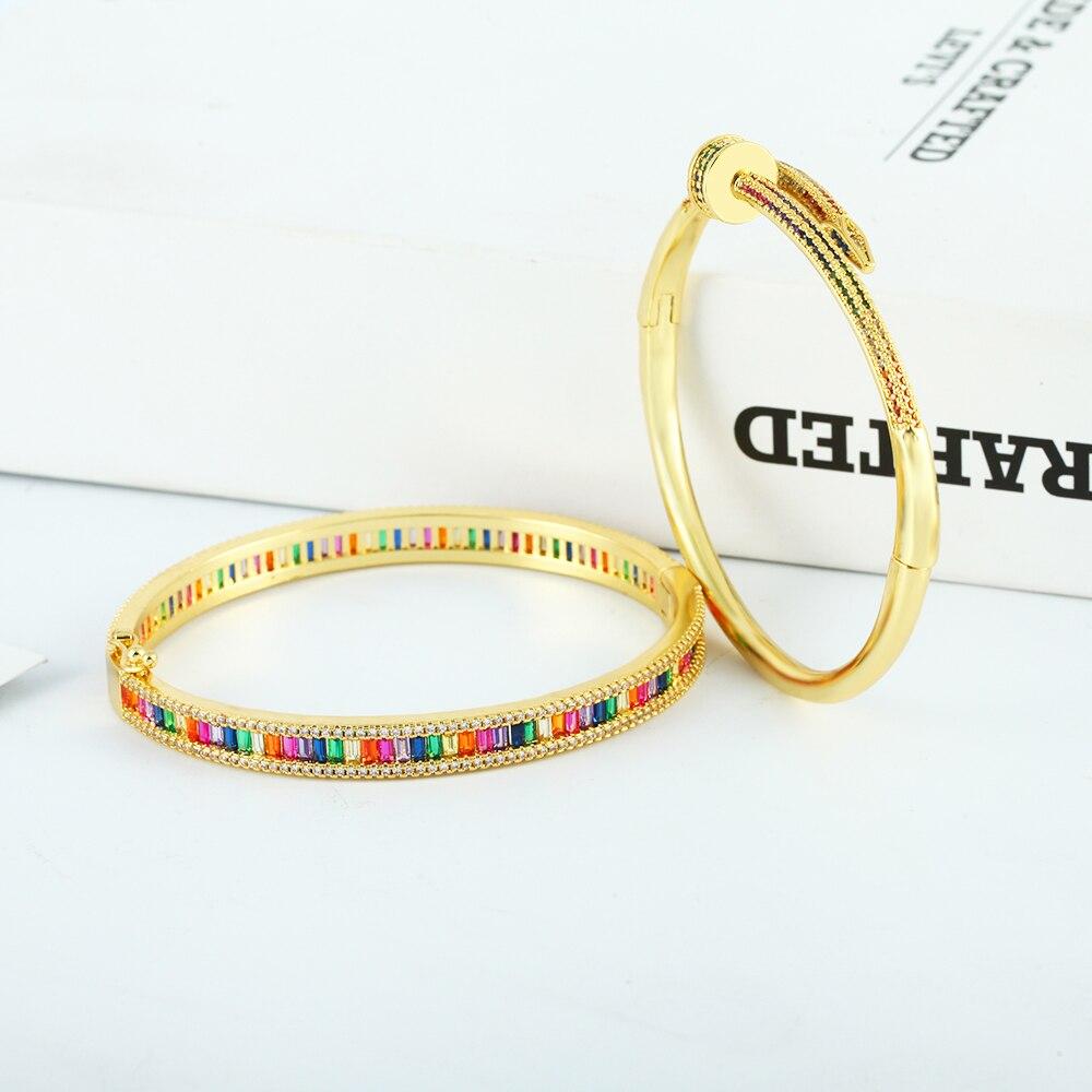 Роскошные золотые женские браслеты с украшением в виде кристаллов циркония медь регулируемый браслет на запястье в виде гвоздя браслет зме...
