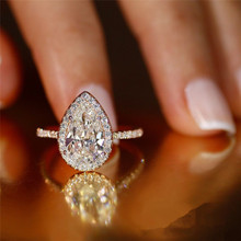 WUKALO Hot Sale Water Drop Design Women Ring Micro Paved Crystal Zircon Elegant Bridal Wedding Engagement Jewelry Ring for Lover