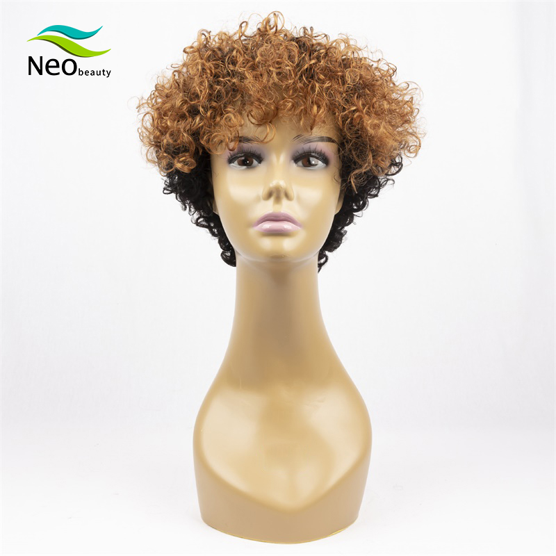 Pixie Cut Kinky Curly Human Wig Full Machine Wigs Human Hair Wigs For Black Women Invisible Lace Front Wigs Curly Short Bob Wig