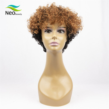 Pixie Cut Kinky Curly Human Wig Full Machine Wigs Hair For Black Women Invisible Lace Front Short Bob