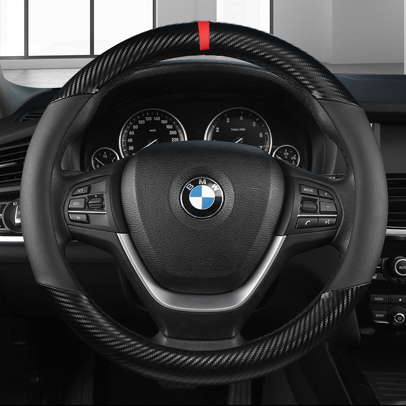 KKYSYELVA Car Interior Accessories Black Auto Sports Steering Wheel Cover Leather +Carbon Fibe38cm Vehicle Truch Steering Covers  - buy with discount