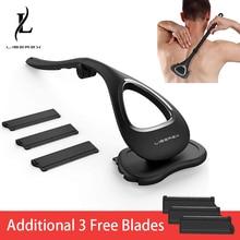 Liberex Back Shaver for Men Folded Razor Dry Wet Shaving Manual Hair Removal 18 Inch Adjustable 6 Blades Body Groomer Trimmer