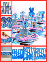 82pcs/set  Frozen Anna And Elsa Princess Party Supplies Kid Birthday Plate&Cup Tablecloth Fork Napkin Decoration Favors
