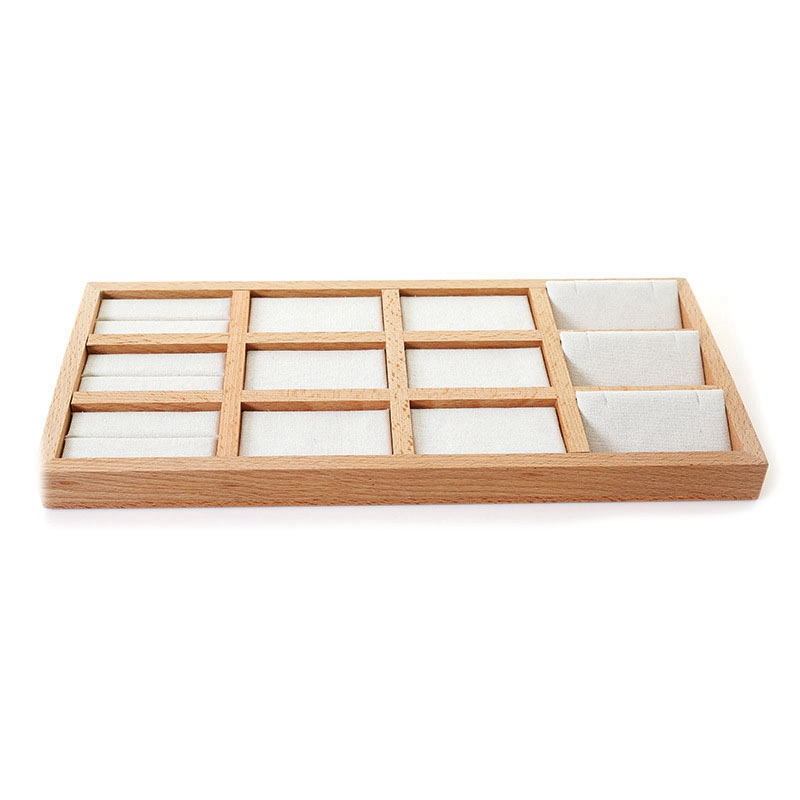 Solid Wood Jewelry Display Tray Ring Earring Necklace Storage Box Jewelry Display Props