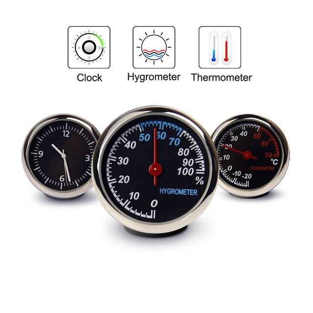 עגול צורת רכב רכב דיגיטלי שעון אוטומטי שעון/מדחום/מדדי לחות רכב פנים קישוט קישוט רכב סטיילינג
