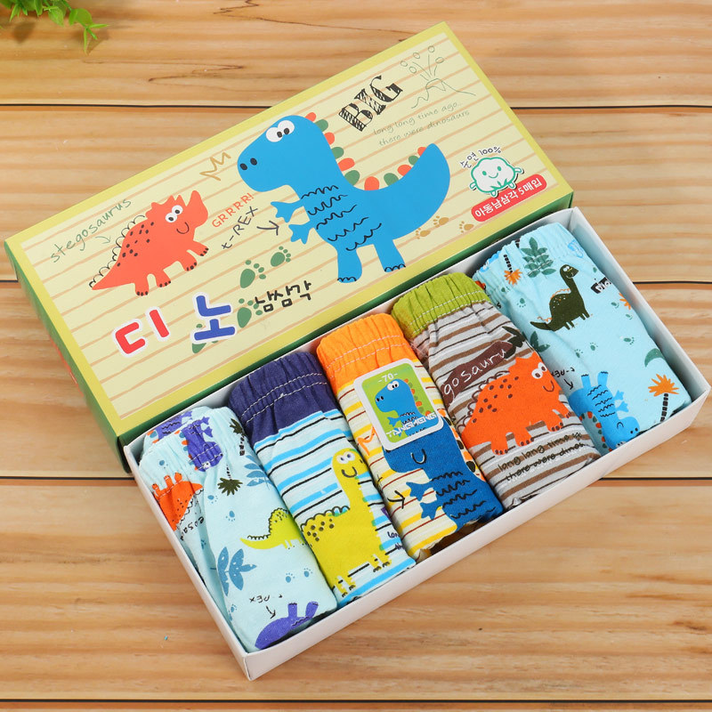5Pcs /Lot Cotton Teenage Boys Underwear Dinosaur Printing Children Breathable Briefs Cotton Panties Baby Comics Underwear Panty
