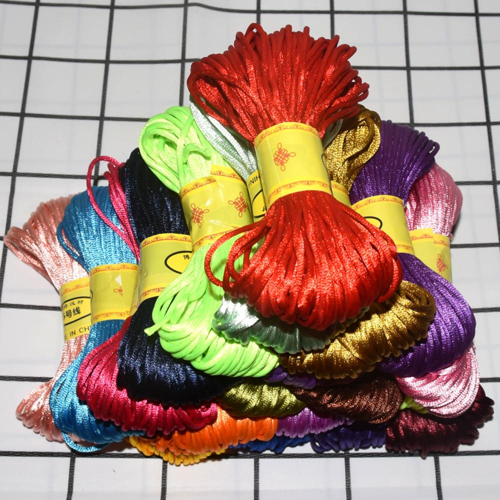 2.5-3mm Chinese Knot Satin Nylon Braided Cord Macrame Beading Rattail Wire Cords