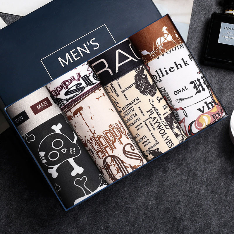 4pcs/lot Male Boxer Panties Men's Underwear Boxers Breathable Man Boxer Printed Underpants Sexy Comfortable Brand Shorts