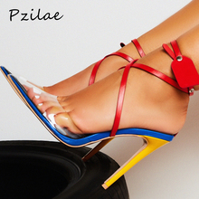 Pzilae New summer sandals women sexy high heels shoes multi color cross strap rivets pumps transparent PVC pointed toe sandalsl