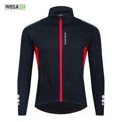 WOSAWE Men Cycling Jacket Winter Thermal Fleece Clothing Coat Waterproof Windproof Reflective Cycling Jersey Women Sportswear