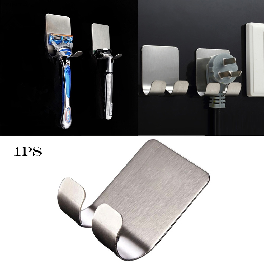 Stainless Steel Razor Holder Men Shaving Shaver Shelf Shaving Razor Rack Bathroom Home Self Adhesive Wall Hooks Hanger