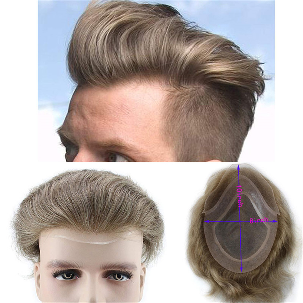 7# Color Human Hair Toupee for Men Natural Straight Light Brown Replacement Hairpiece European Remy Hair Male Wig 10x8