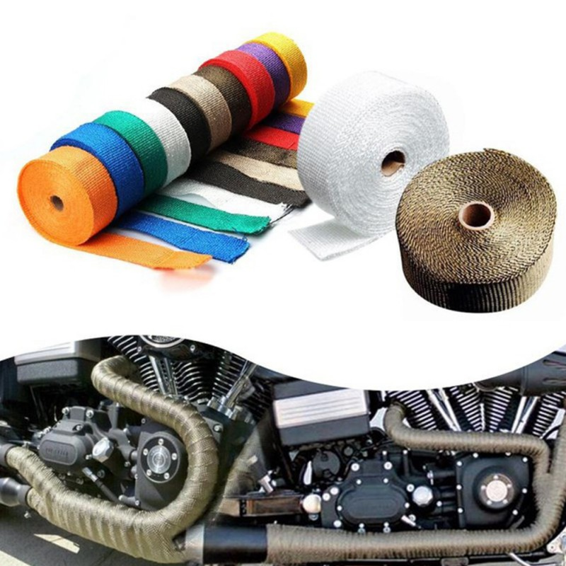 Exhaust Heat Wrap Shield Protector Tan Fireproof Insulating Tape Cloth Roller Kit For Car Motorcycle